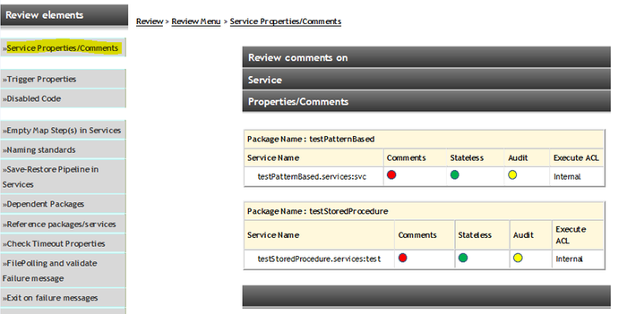 Code Review Tool feature Reviews the package elements