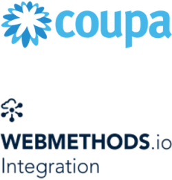 Coupa logo and webMethods.io integration